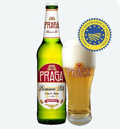 Пиво Прага с бокалом